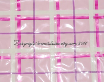 Baby Pink Checked Latex Material for Making Latex Clothes, by the metre - can be completely custom