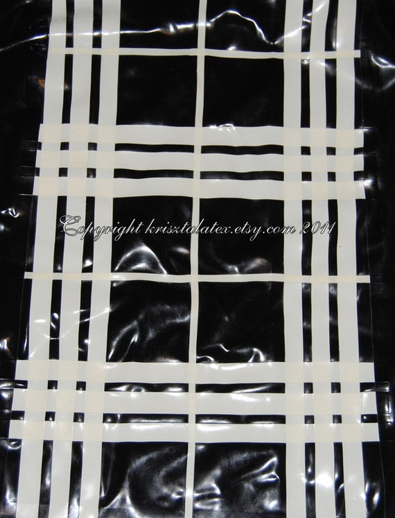 Latex Black and White Checked MacLeod Tartan - material, sheet by the metre - can be completely custom
