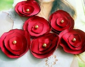 Handmade red Satin fabric Flower Appliques accessories Blossoms set of 6