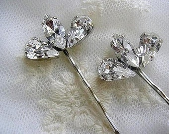 BRIDAL hairpin Bobby Pin wedding hair  ACCESSORIES Rhinestone set of 2