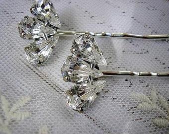 Bridal Crystals hairpins, Bridal hair Jewelry vintage style, wedding hair  ACCESSORIES, wedding bobby pin, Rhinestone set of 2