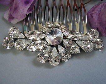 wedding hair comb, BRIDAL hair comb, vintage style wedding HAIR ACCESSORIES sparkle Rhinestones