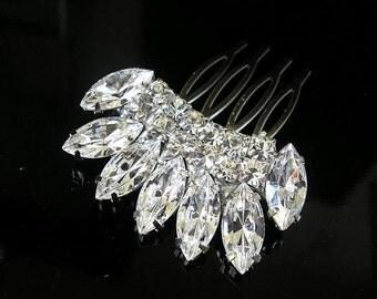 BRIDAL hair comb ,vintage style ,wedding hair  ACCESSORIES ,head piece Swarovski  Crystal  Glamour sparkle Rhinestones ,