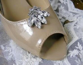 wedding BRIDAL Shoe Clips, vintage style, wedding  Shoe ACCESSORIES ,sparkle Swarovski Rhinestones