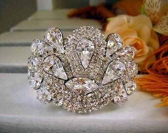 bridal  Swarovski Bracelet, BRIDAL Cuff Bracelet, bridal Accessories , Rhinestone,  Sparkle ,Wedding Bracelet ,Jewelry
