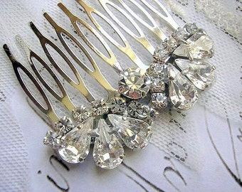 BRIDAL hair comb vintage style wedding HAIR ACCESSORIES sparkle Rhinestones