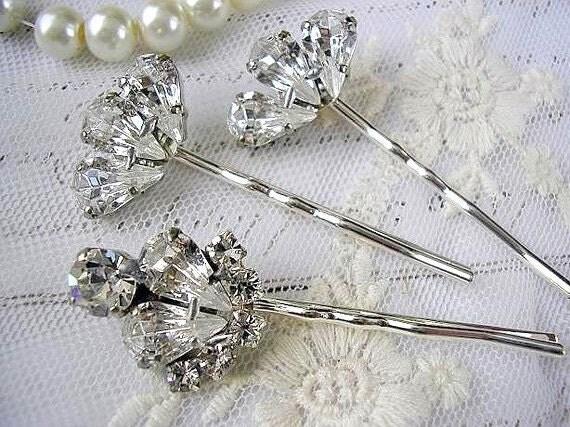 Wedding Jewelry, Swarovski BRIDAL hair pins,  hair  ACCESSORIES, Bridesmaid gift,  head piece, vintage style, Rhinestones set of 3