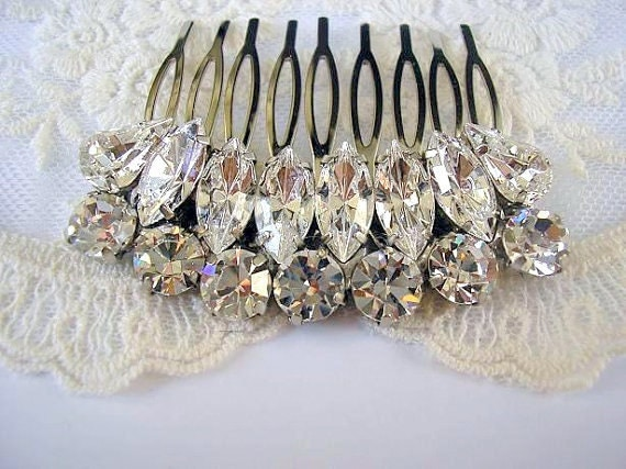 Wedding hair comb accessories Bridal hair comb  royal vintage style sparkle Rhinestones swarovski,