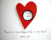 RESERVED for MissLizbeth - Handmade missing you card