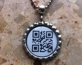 GEEK - QR code scan - Bottle Cap Necklace or key ring - Scan it to see the message