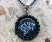 House Stark sigil - Game of Thrones - Bottle cap necklace or key ring - Hand drawn