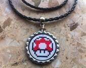 Super Mario - Shroom - Bottle Cap Necklace