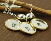 Hand Stamped Necklace, Personalized Jewelry, Initial Jewelry, Raised Rim Pendant, 14kt Gold Filled and Sterling Silver