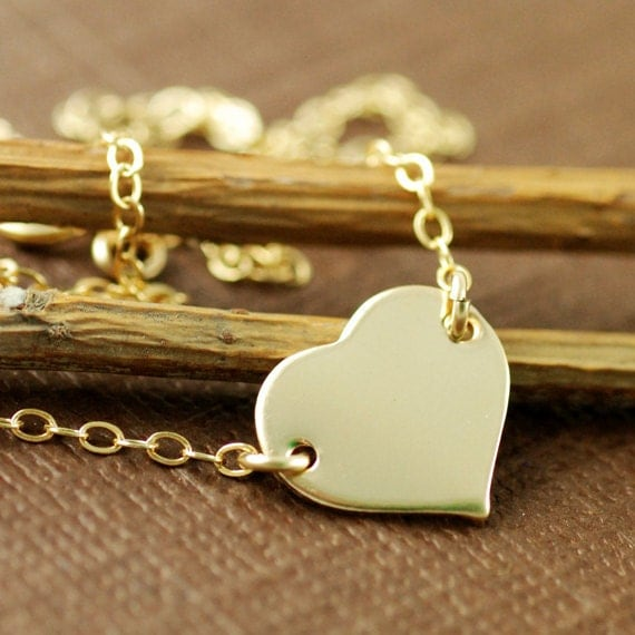 Charlize Theron Replica, Gold Heart Necklace, Love Necklace, 14kt Gold Filled Chain Necklace, Young Adult