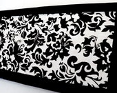 Black and White Damask wood key holder 5 hook art hanger