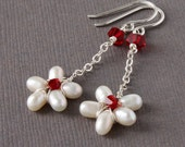 White Pearl Dangle Earrings, Red Swarovski Crystal, Sterling Silver Wrapped
