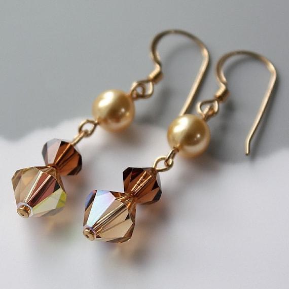 Swarovski Crystal Earrings, Warm Golden Cognac Gold Filled