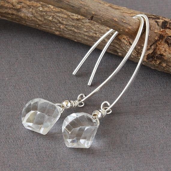 Crystal Quartz Dangle Earrings, Sterling Silver, Unique Twist Earrings