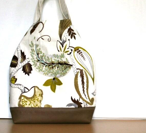 Caramel Leather Handbag Sea Life Day Satchel Aqua Saffron Olive Green