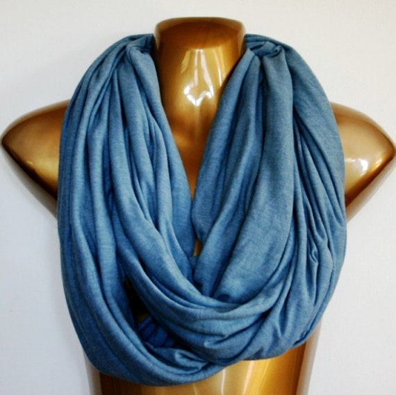 Seawashed Blue Lightweight Infinity Scarf