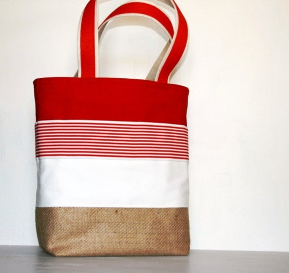 Red White Stripes Summer Resort DayBag