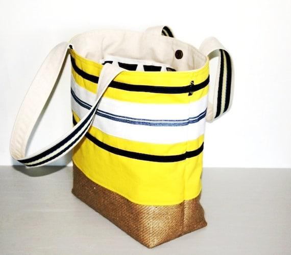Bright Lemon Yellow Large Canvas Resort Tote Bag