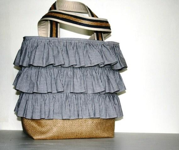 Womens Ruffled Linen Totebag Purse Handbag Mothers Day