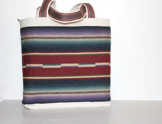 Southwest Tribal Native American Indian Tote Leather Canvas Large Nomadic Bag