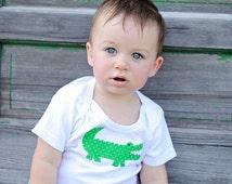 Louisiana Gator Onesie, Gown, T-Shirt, Bib or Blanket- in Hot Pink, Kelly Green, Pink or Green Chevron, Pink or Green Seersucker