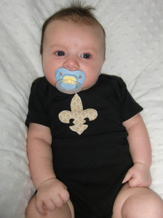 Who Dat Baby Black and Gold Fleur de Lis Onesie