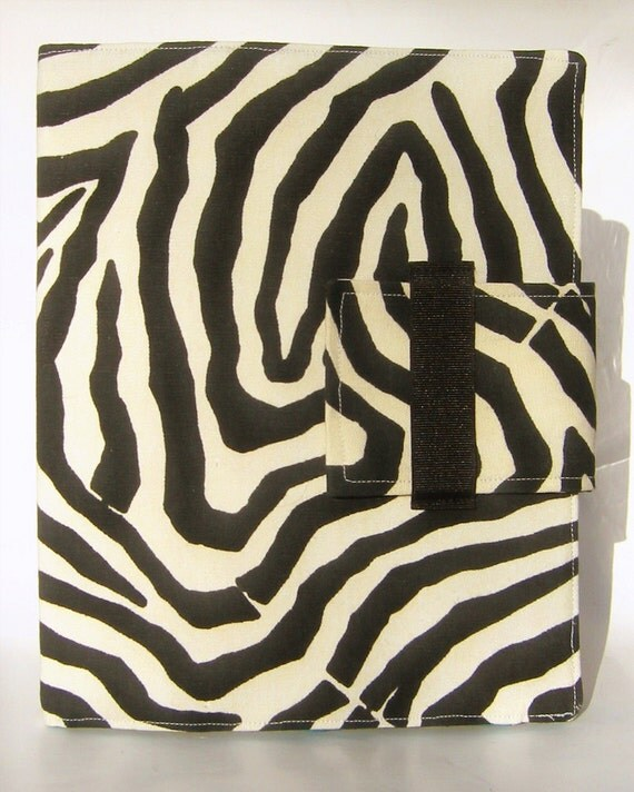 iPad and iPad 2 and iPad 3 Case - Folding Stand in Modern Black and Cream Zebra