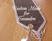 Custom made (for Casandra) table runner embroidery canvas work (needlepoint) with silver lace and glass beads