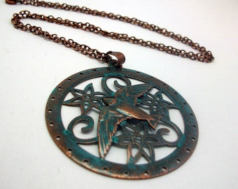 Brass Swallow Bird with Flowers - Flying High in Patina Necklace