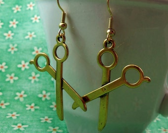 Golden Scissors Dangle Earrings