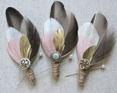 Vintage Feather Boutonniere - Custom