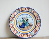 Colorful Vintage French Folk Plate by Henriot Quimper