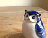 Blue and White Porcelain Owl Figure