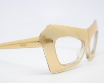 Unique vintage mask cat eye glasses gold New Old Stock