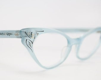 1950 cat eye eyeglasses mint blue rhinestone cateye frames