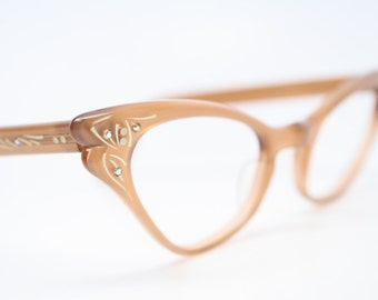 1950 cat eye eyeglasses mint rust rhinestone cateye frames