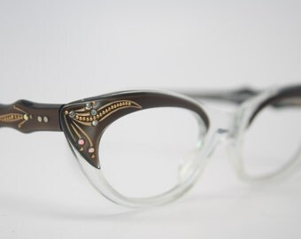 Brown cat eye glasses vintage rhinestone cateye frames NOS