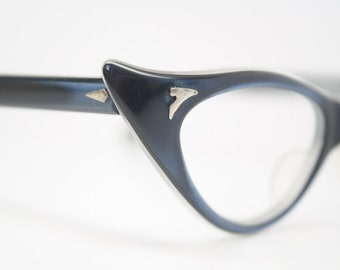 beautiful blue vintage cat eye glasses retro