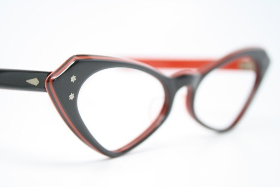 red cat eye glasses vintage cat eye frames NOS