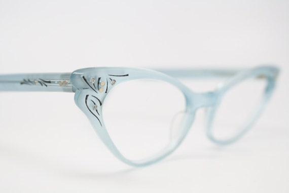 1950 cat eye eyeglasses mint blue rhinestone cateye frames