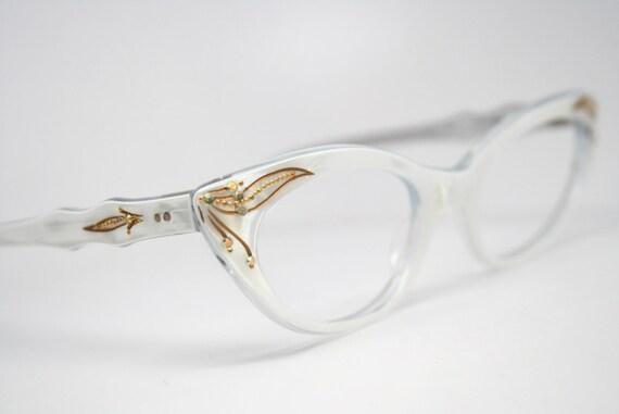 vintage cat eye glasses white rhinestone cateye frames