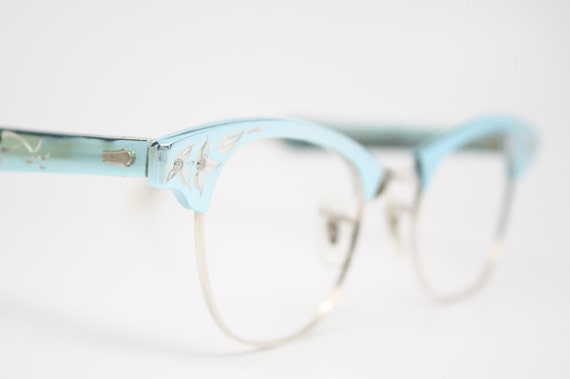 Blue 12k cat eye glasses retro vintage