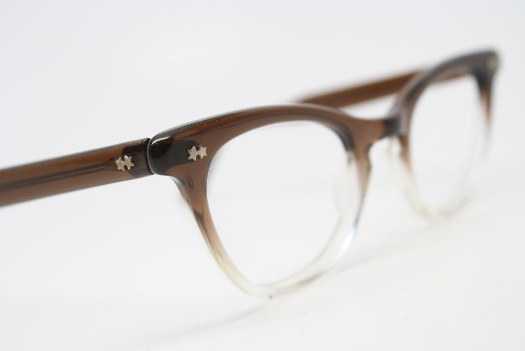 Glasses Frame Fading : vintage Cat eye glasses Brown fades cat eye frames NOS