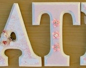 Wood letters custom wood sign baby name nursery art hanging letters baby name sign letters for wall Pink