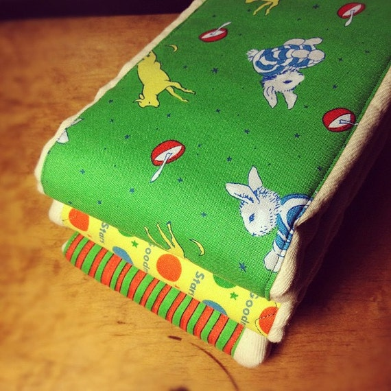 ChristmasinJuly Sale Cloth Diaper Burp Cloths made with Goodnight Moon themed fabric, 3