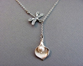 Silver Dragonfly and Calla Lily Lariat Necklace